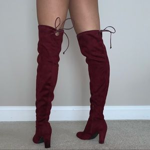 Burgundy, suede over the knee boots